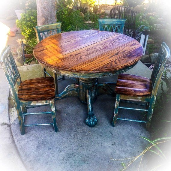 Sold Burnt Oak Table Chair Set Large Distressed Farmhouse Dining Room Blue Gr