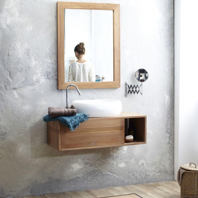 sottolavabo mobile bagno vasca sottolavandino sospeso legno teak tek ...