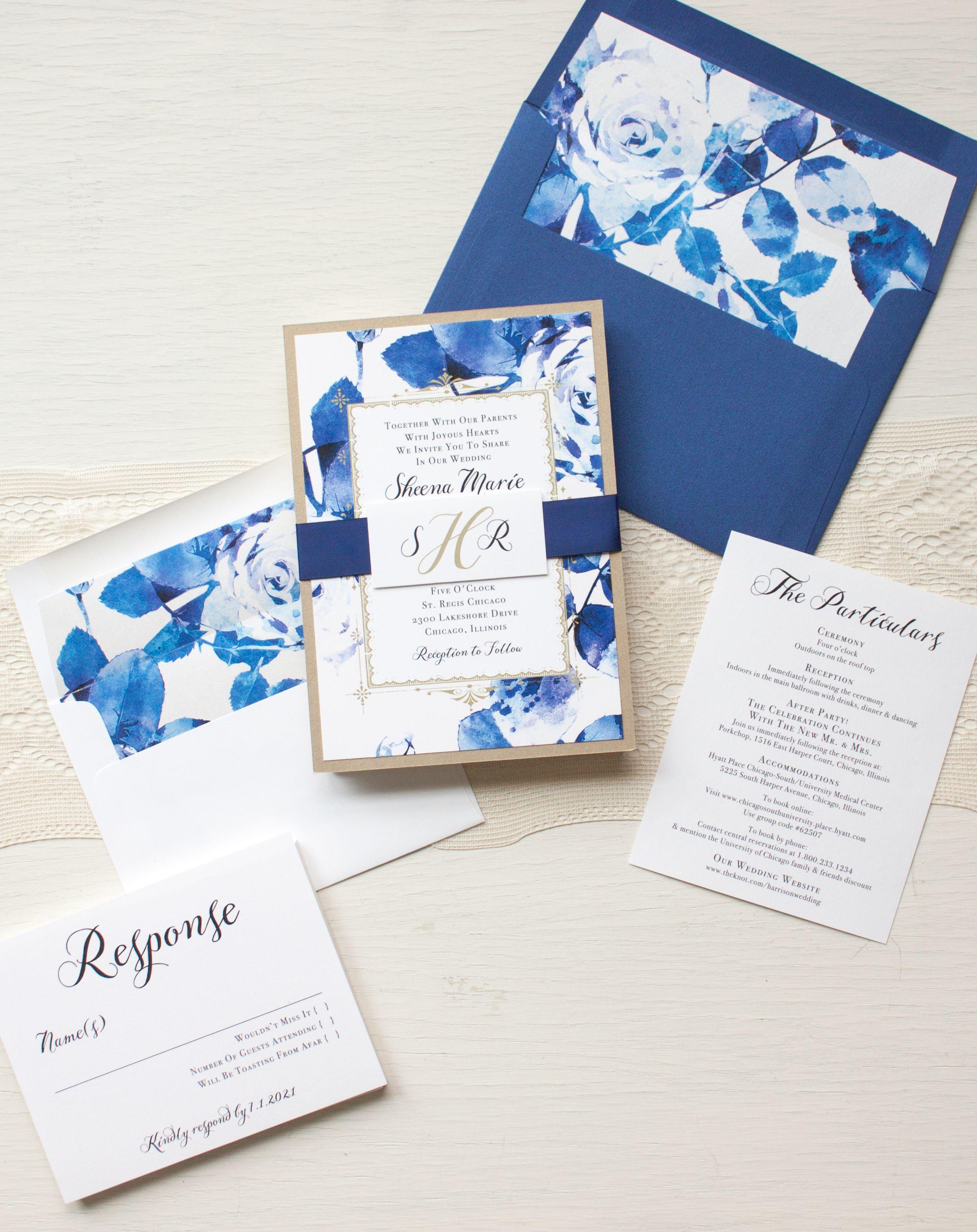 Urban Garden modern luxury wedding invitations with rich