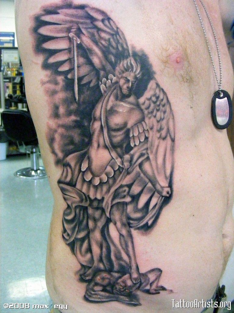 Michael Archangel Symbol Tattoo Angel On Rib Side Pictures ...