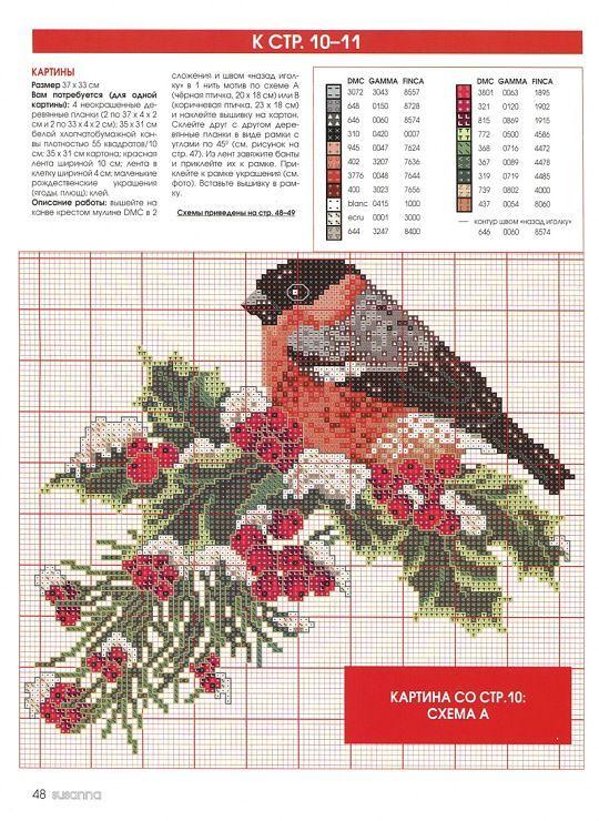 Winter bird cross stitch