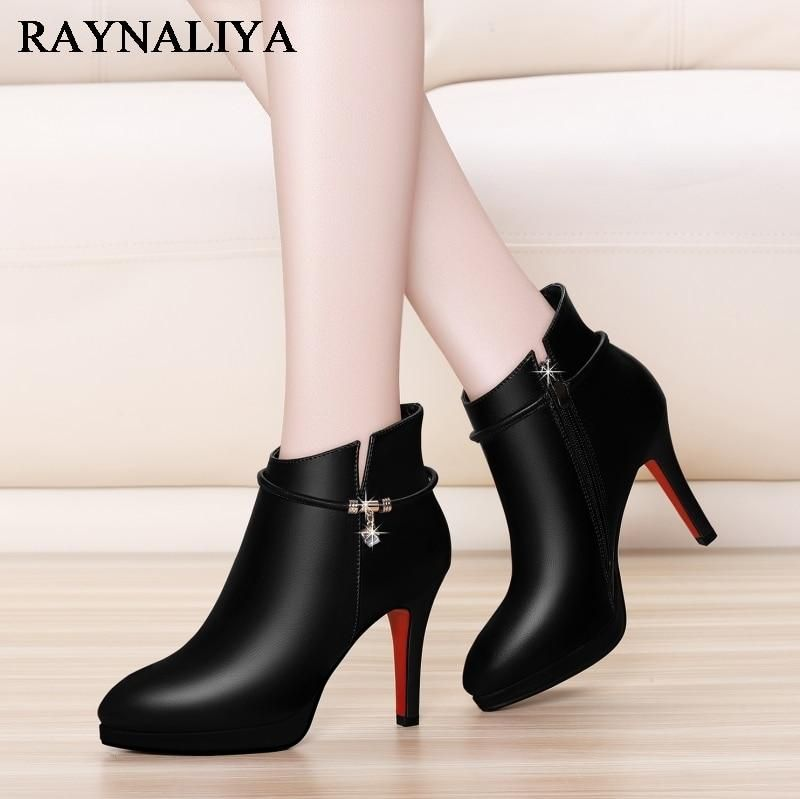 New Sexy Black High Heels Cow Leather Shoes Women Boots Female Pointed Toe Zip Boot Women Shoes Ankle Boot Size 3439 YGA0033 is part of Boot shoes women, Women shoes, High heel boots, Womens boots, Leather shoes woman, Boots - Autumn Insole Material Wool Blend Pattern Type Solid Outsole Material Rubber With Platforms Yes Platform Height 03cm is handmade No Lining Material Cotton Fabric Shaft Material Genuine Leather ShaftGenuine Leather Type Cow Leather Fit Fits true to size, take your normal size Fashion Element Crystal Department Name Adult Item Type Boots