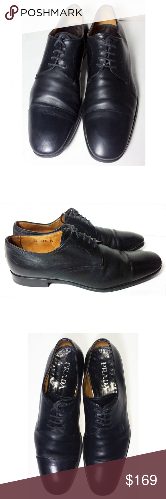 Prada Black Derby Cape Toe Dress Shoe Men Size 9.5 Prada Black Leather Derby Cap…