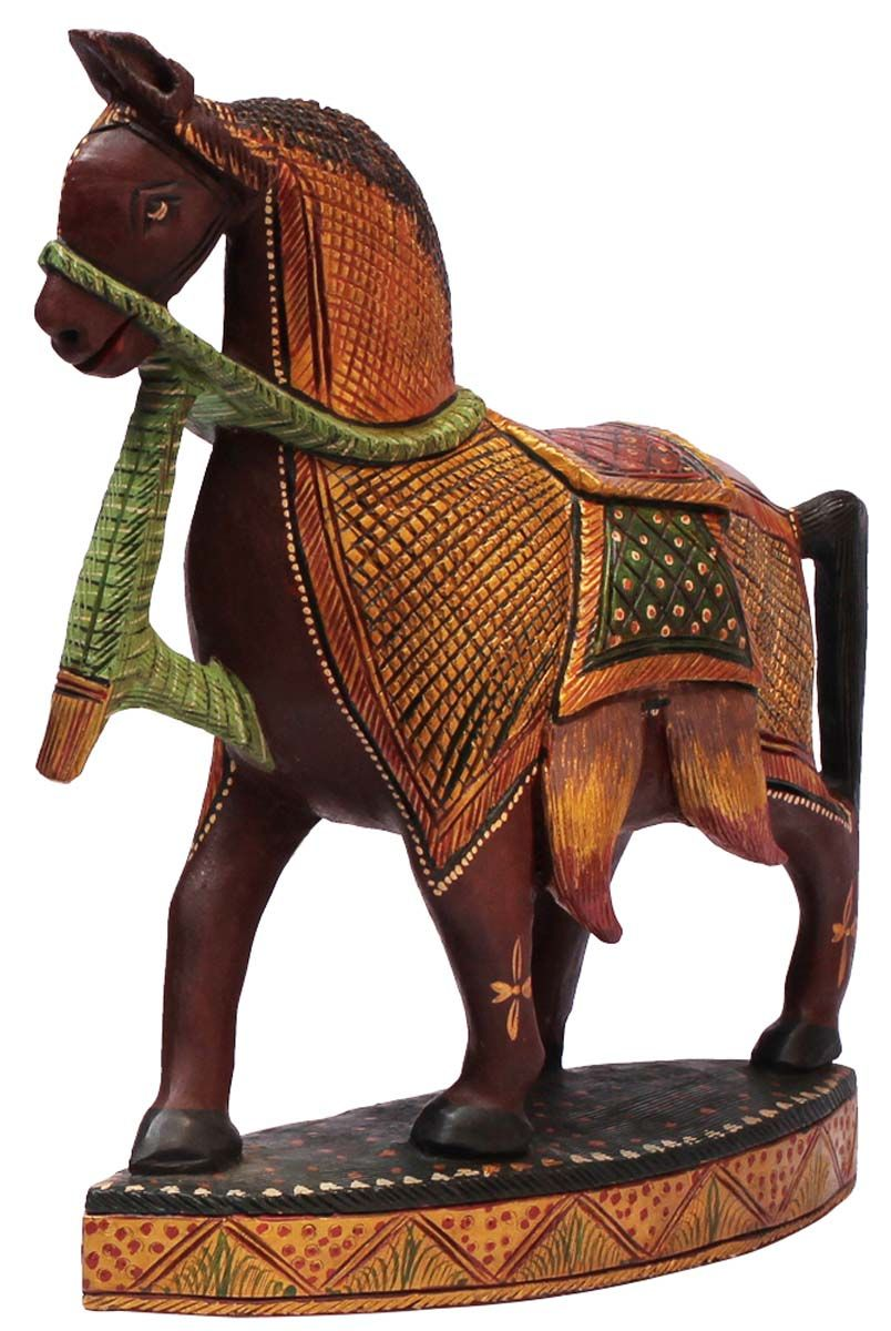 Bulk Whole Hand Carved Kadam Wood Statue Sculpture Of Horse Painted In Multiple Colors Home Décor With Traditional Indian Motif Carving Gifts From
