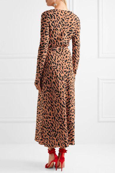 Diane Von Furstenberg Leopard Print Silk Crepe De Chine Wrap Dress Camel