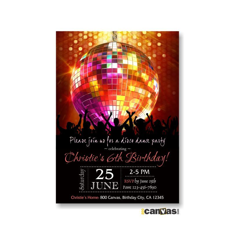 Disco Ball Birthday Party Invitation, Disco Dance Party Birthday ...