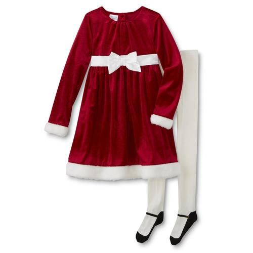 8b608bd27d7a Toughskins Girls' Christmas Dress & Tights - Sears | Little girl ...