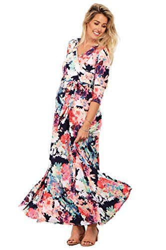 fd25b1529a522 PinkBlush Maternity Navy Abstract Floral MaternityNursing Maxi Wrap Dress  Lar >>> Click image to review more details.