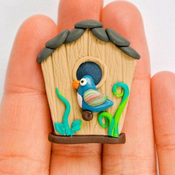 Cute Birdhouse Magnet Fridge or Message by Thelittlecreatures