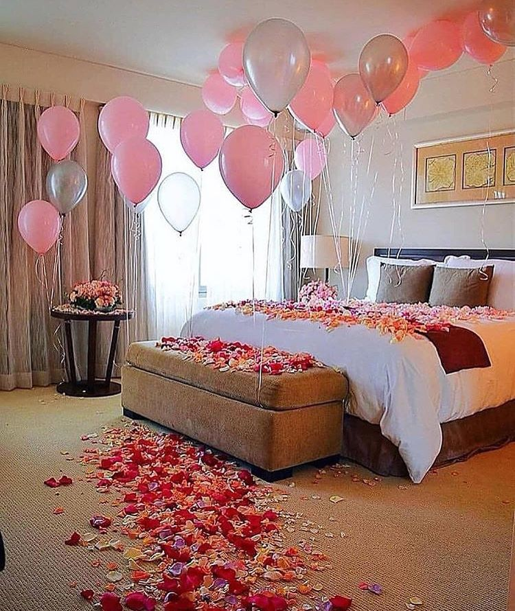 Cover the bed in rose petals birthday room surprise st parties also best valentines day decor images rh pinterest