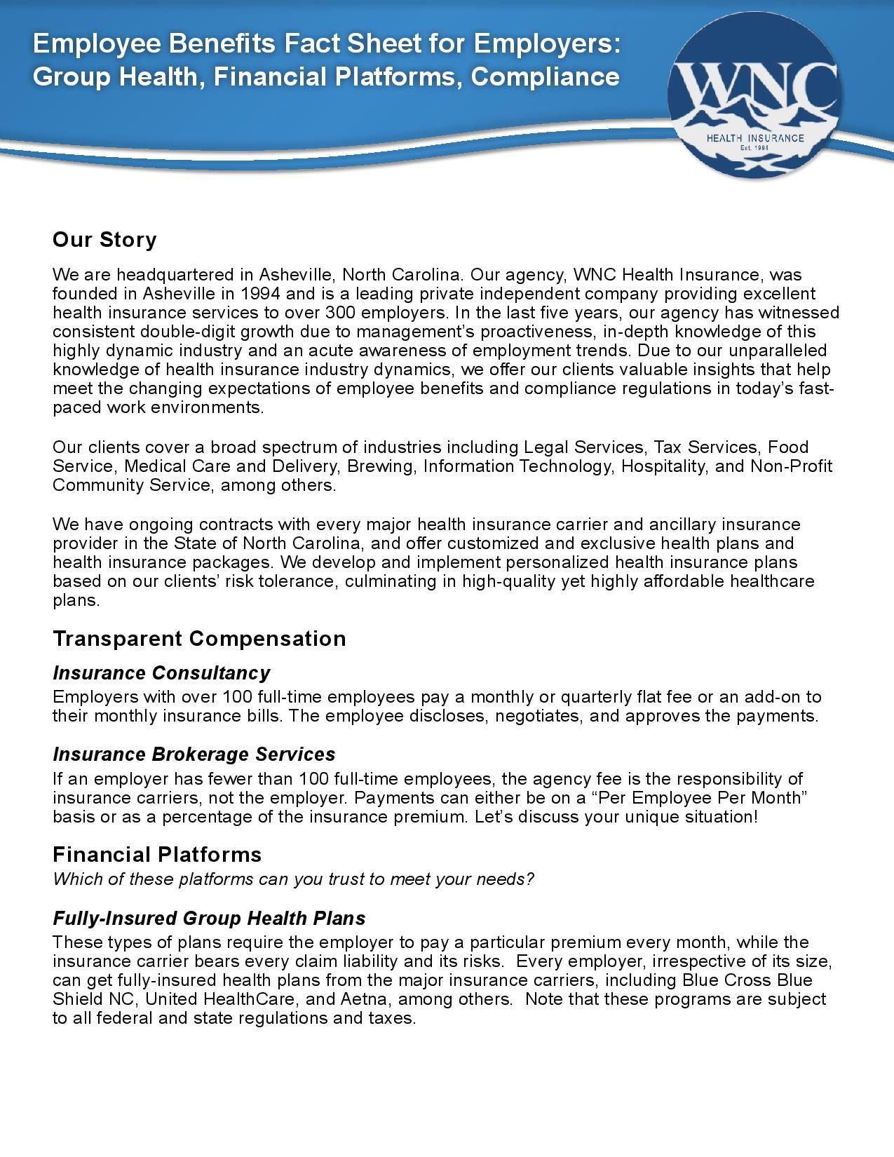 Health Insurance Employee Benefits Fact Sheet Health
