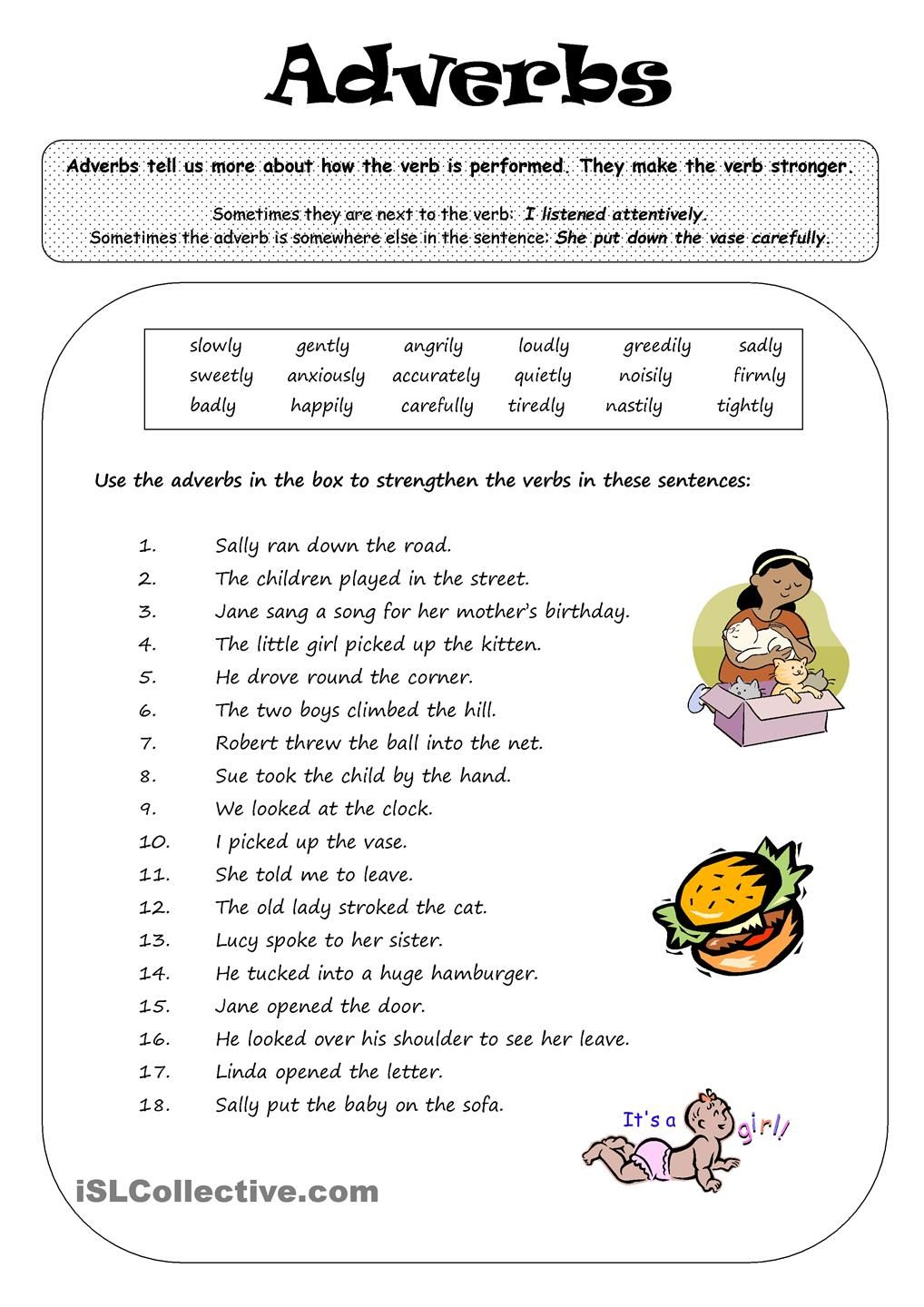 ADVERBS English grammar worksheets, English grammar