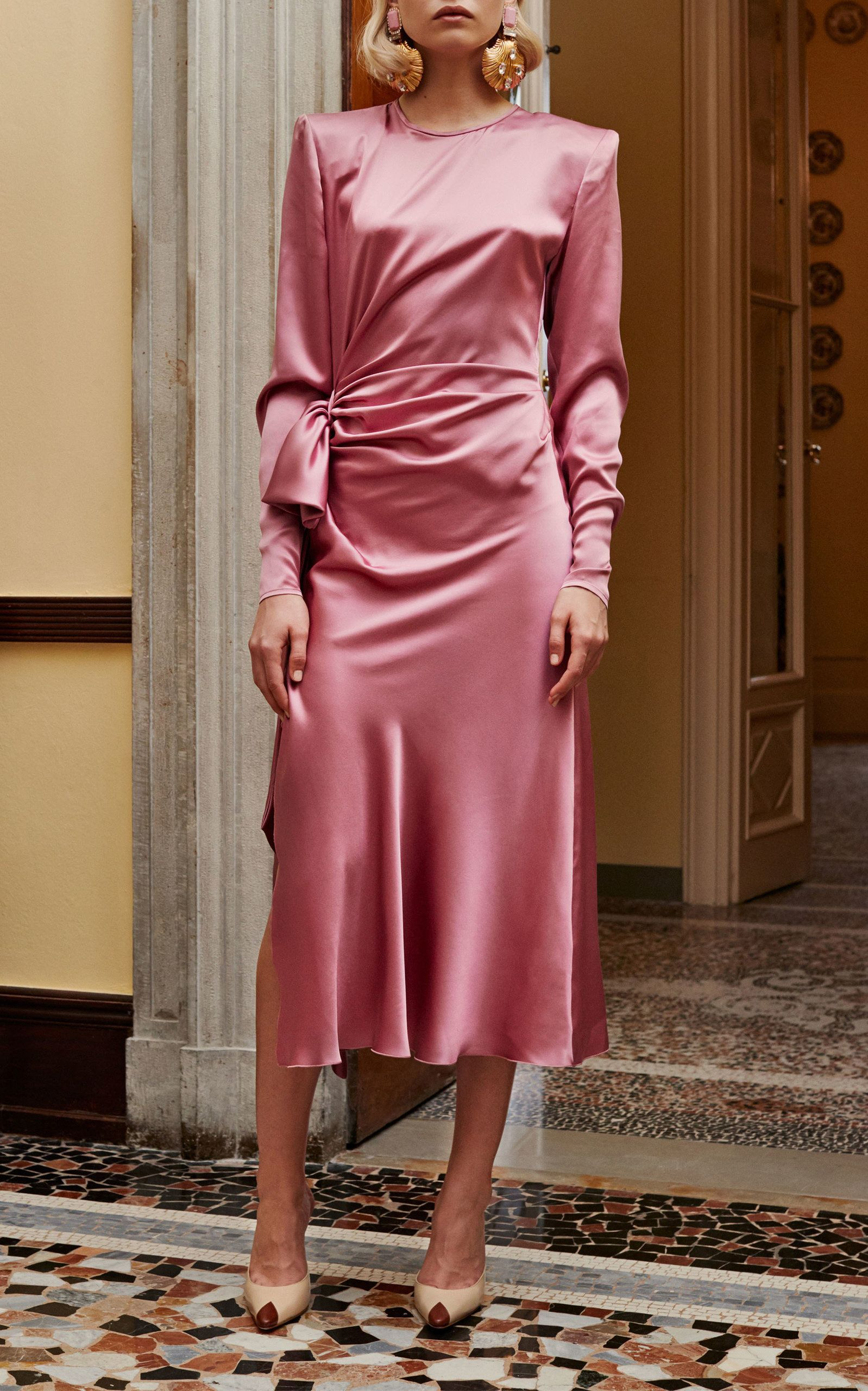 Alessandra Rich Long Sleeve Silk Dress Long Sleeve Silk Dress Silk Dress Long Silk Dress Sleeve [ 2560 x 1598 Pixel ]