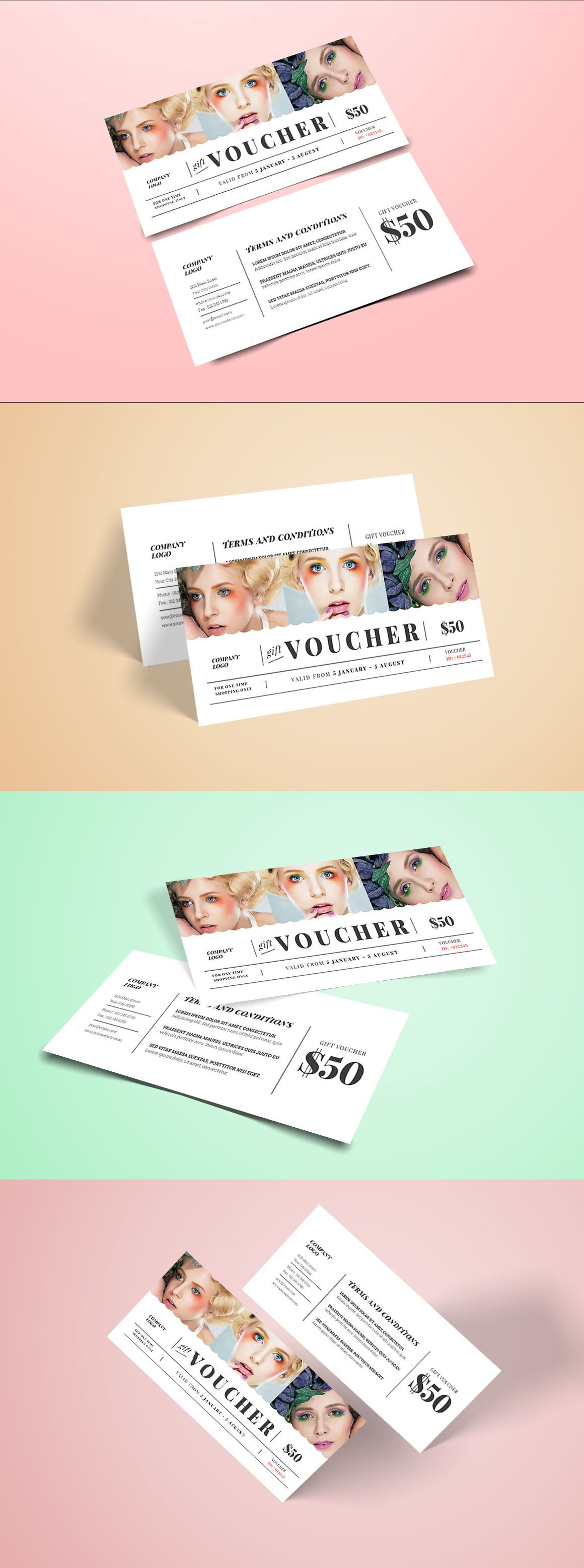 Fashion GIft Voucher Template AI PSD Дизайн Визитки Pinte - Gift certificate template ai