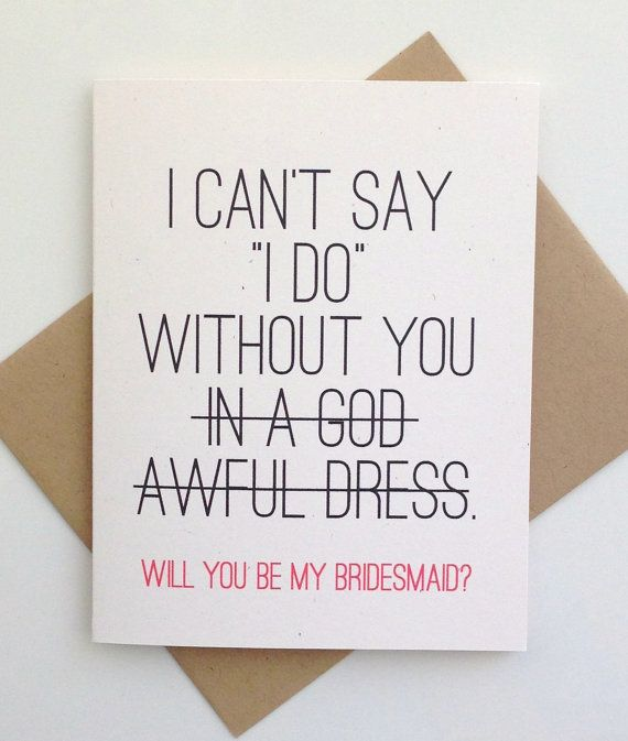 Will You Be My Brides Maid Card Bridesmaid Card Will You Be My