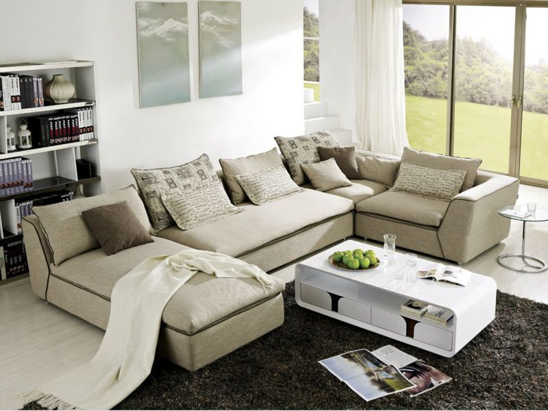 Modern Latest Design Living Room Fabric Solid Wood Sofa