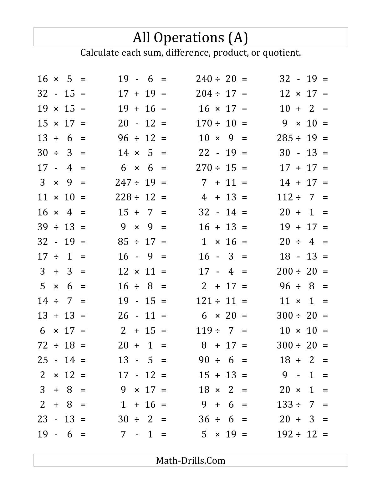 The 100 Horizontal Mixed Operations Questions Facts 1 To 20 A Math Worksheet From The Mixed Operations Works Free Math Worksheets Free Math Math Worksheets