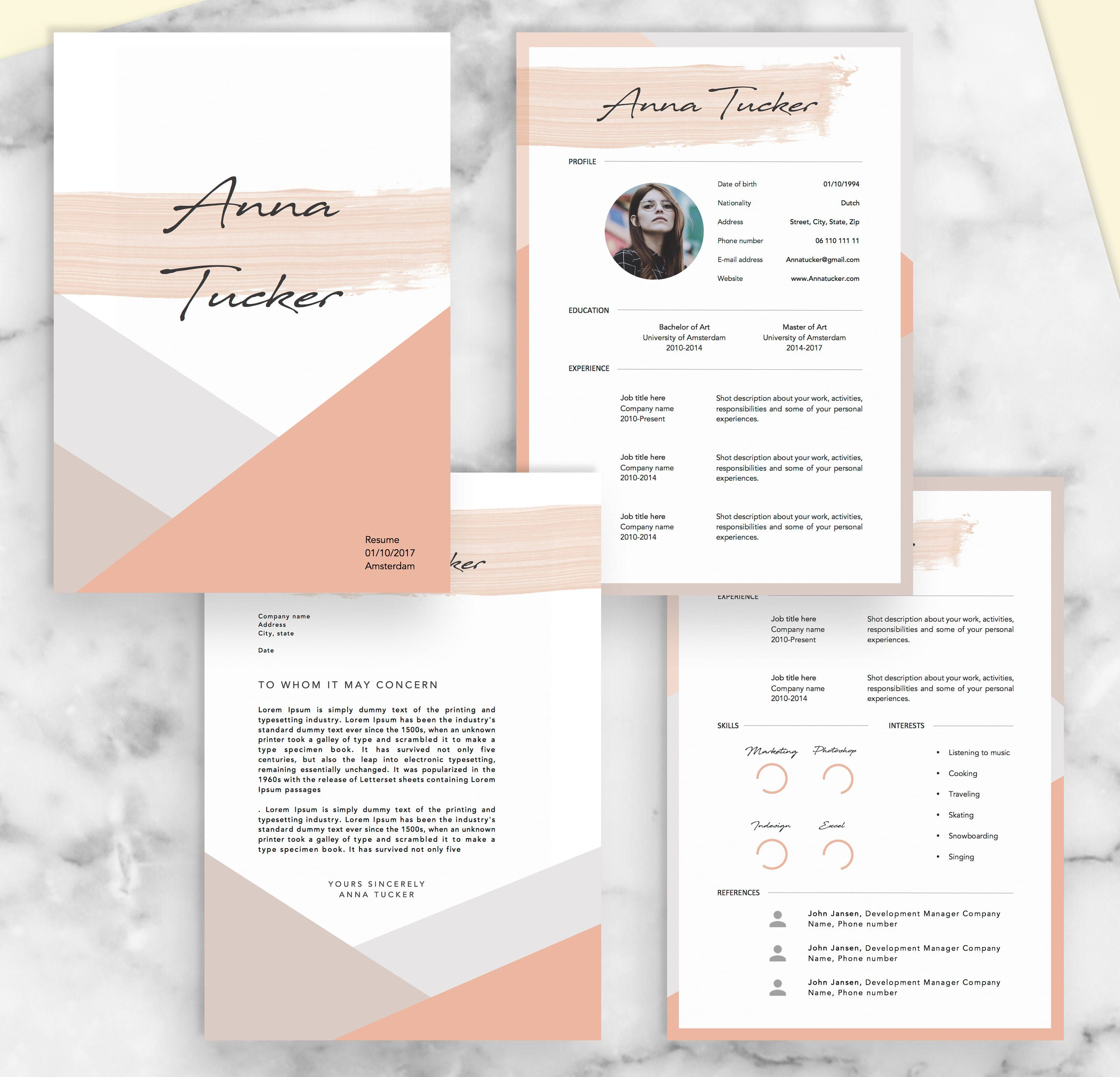 4 page modern resume template cv template professional