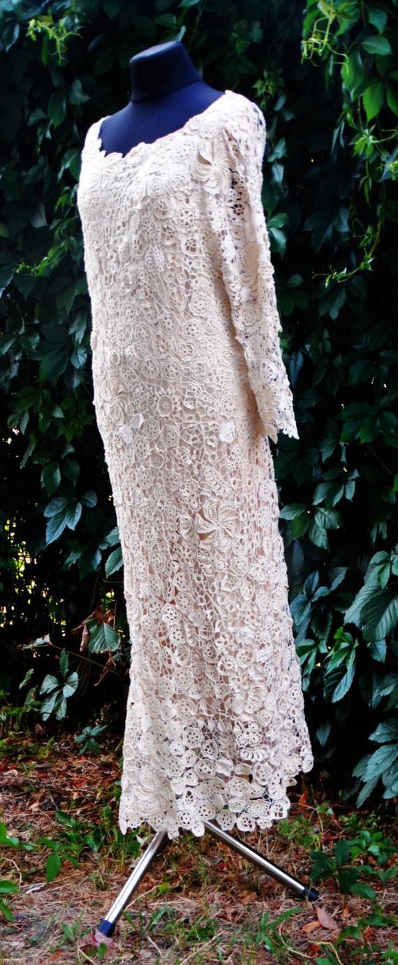 Crochet wedding dress irish lace, irish lace dress, white wedding dress, crochet lace, irish lace dress, handmade crochet lace dress