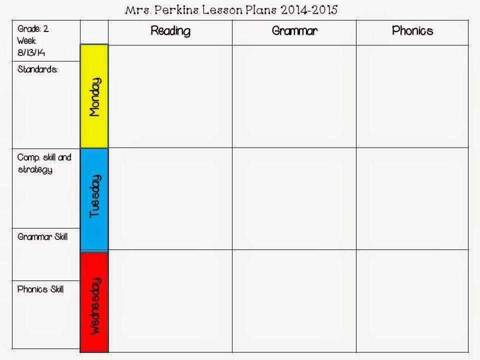 Free Editable Lesson Plan Template 2nd Grade Common Core