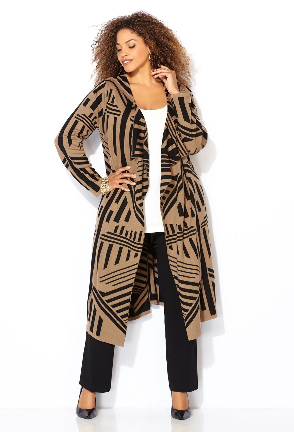 Jacquard Hooded Duster Cardigan-Plus Size Cardigan-Avenue | My ...