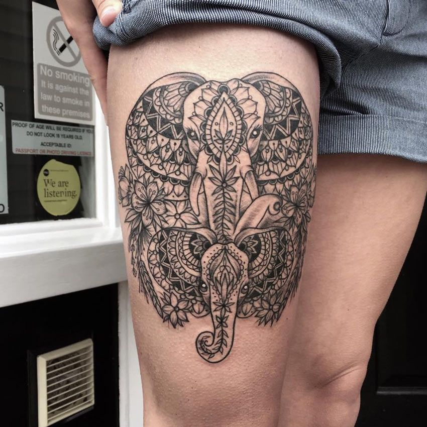 Elephant Mandala Thigh Tattoos Women Leg Tattoos Mandala Thigh Tattoo