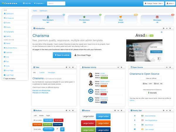 Charisma Admin Template | Free Bootstrap Admin Templates | Pinterest