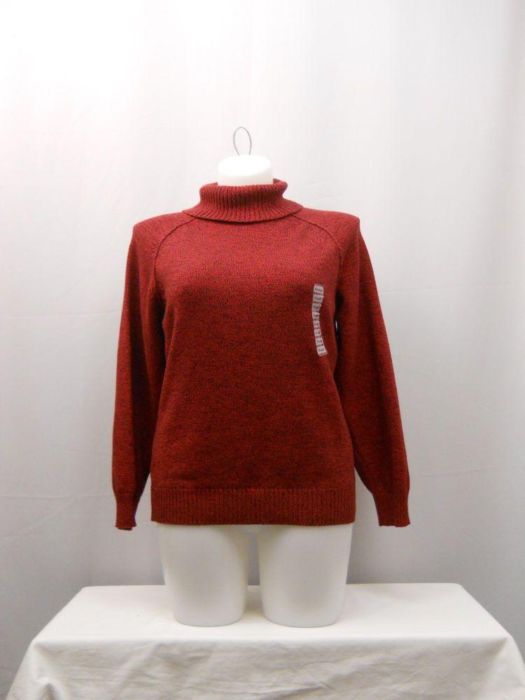 Women's Sweater Size XL Karen Scott Red Marl Long Sleeves Turtle Neck Pullover  #KarenScott #TurtleneckMock