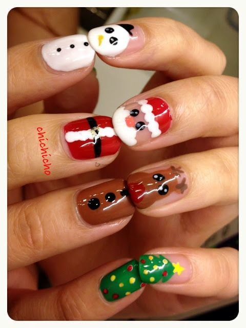 Video Santa Rudolph And Frosty Nails Chichicho Nail Art Addicts Santa Nails Xmas Nails Santa Nail Art