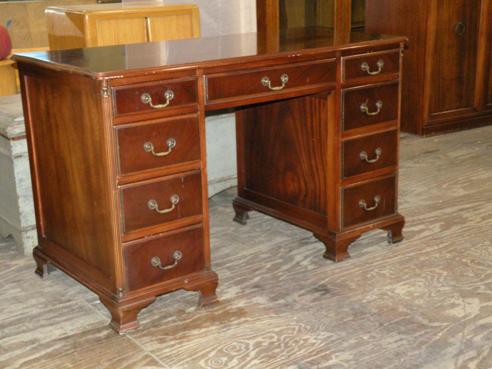 Server buffet federal style solid mahogany w applied flame mahogany - Antique Maddox Mahogany Kneehole Writing Desk Ebay