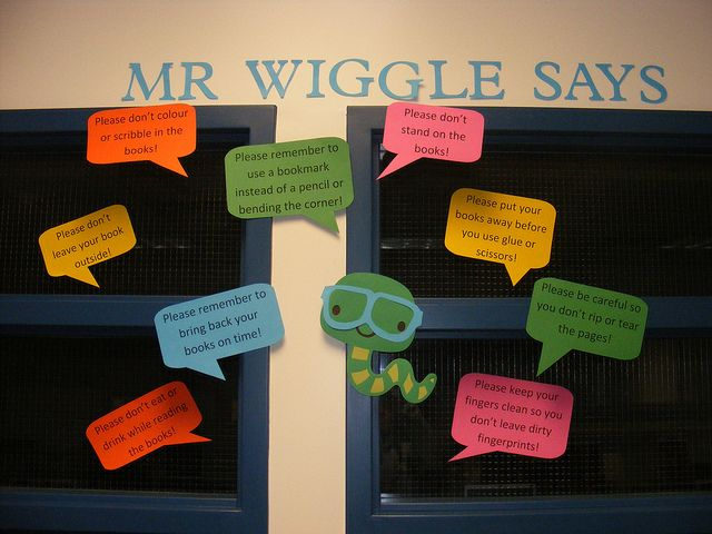 """""""Mr. Wiggle Says ..."""" library book rules bulletin board"""