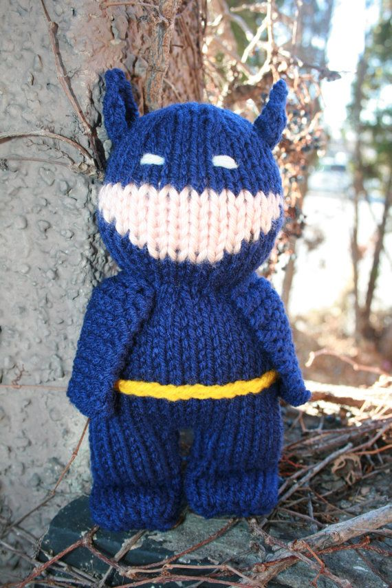 Hand Knit Batman in Royal blue 8 inche soft stuffed by forthetiny, $14.99
