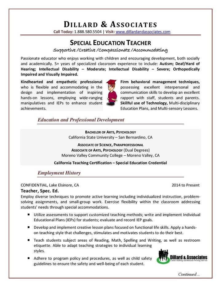 Psychological Associate Sample Resume Teacher  Special Education Sample Resume  Resume Tips  Pinterest