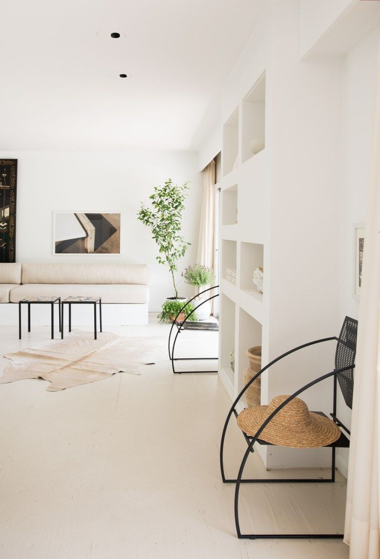 Serene, modern living room in neutral tones with clean lines ...