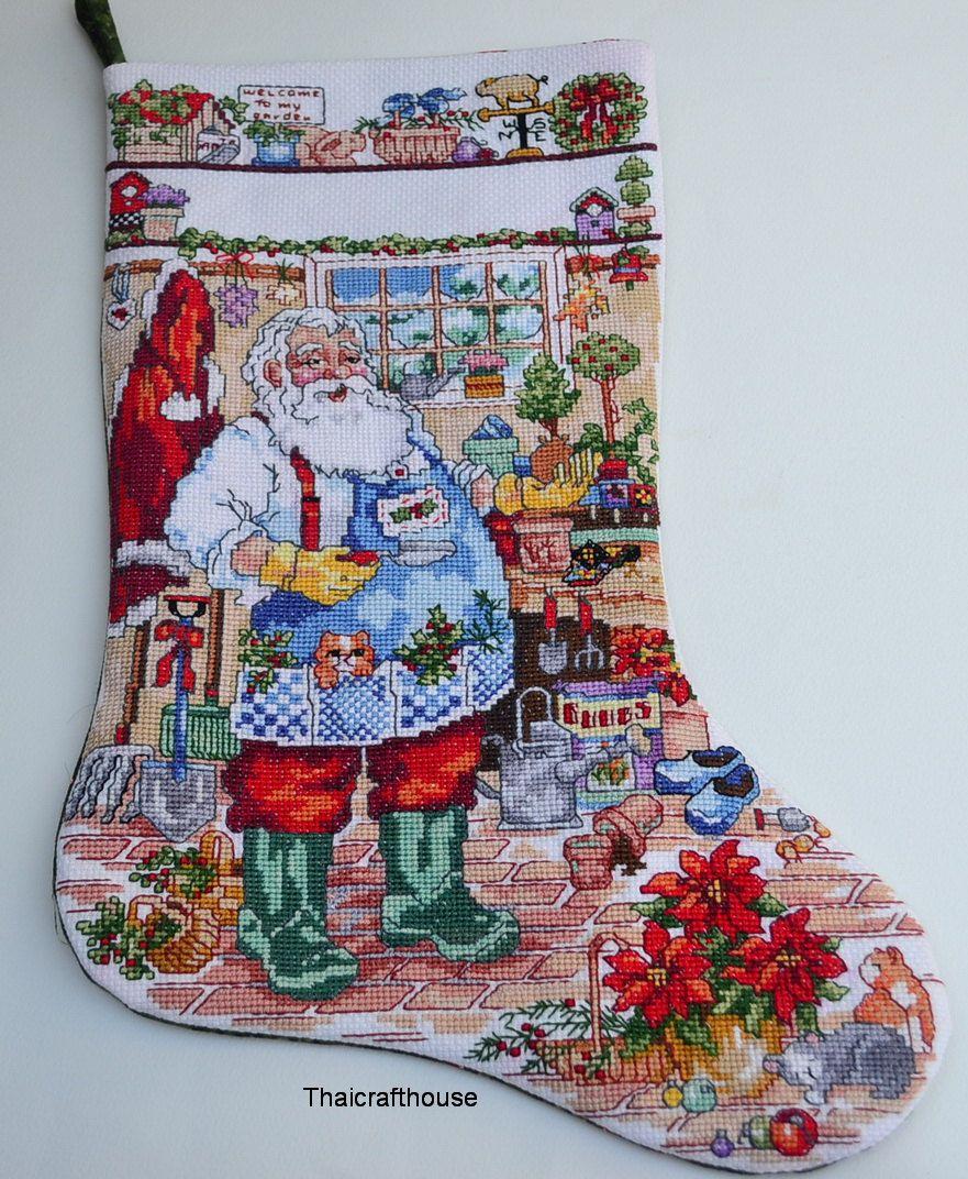 Santa Christmas Stocking, needle work, 28 x 40 cm. by