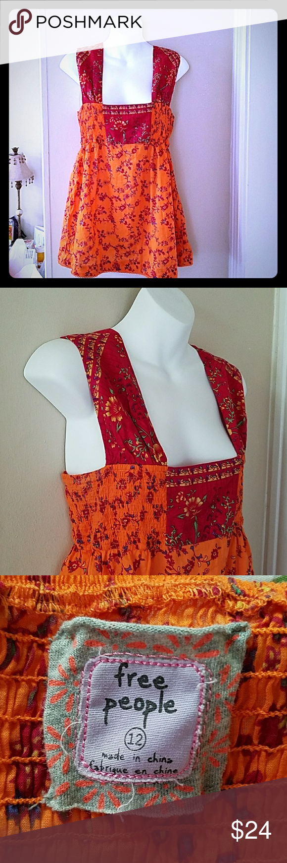 Free People Size 12(Medium)summer floral top. EUC Free People Size 12 red and orange floral hippie boho summer festival top. EUC. No defects. Cute!!! Free People Tops Tank Tops