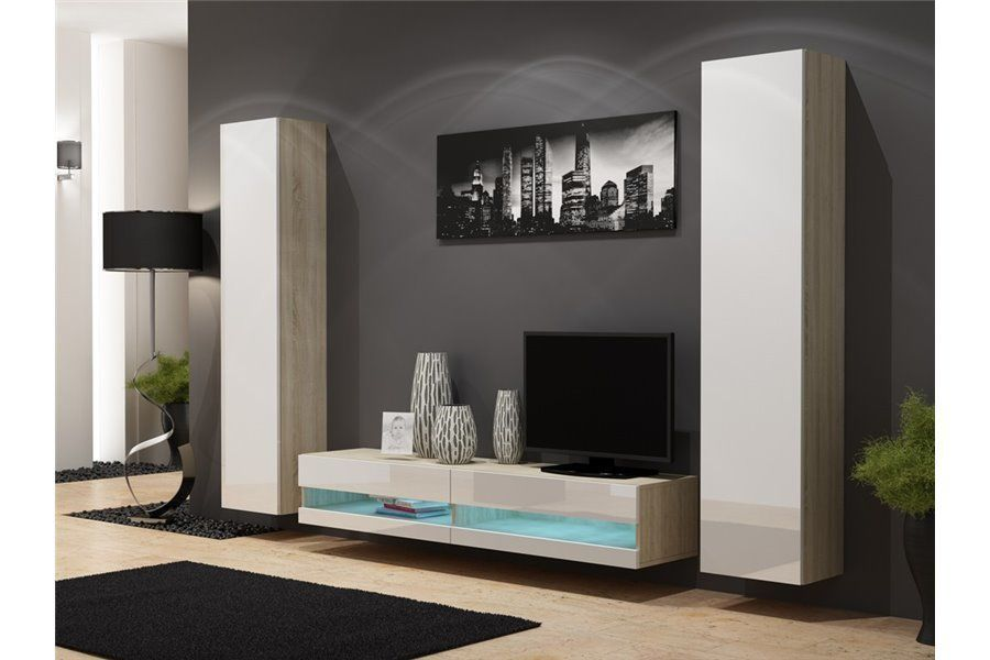 Ensemble Meuble tv mural Plermo - blanc et noir Déco salon Pinterest