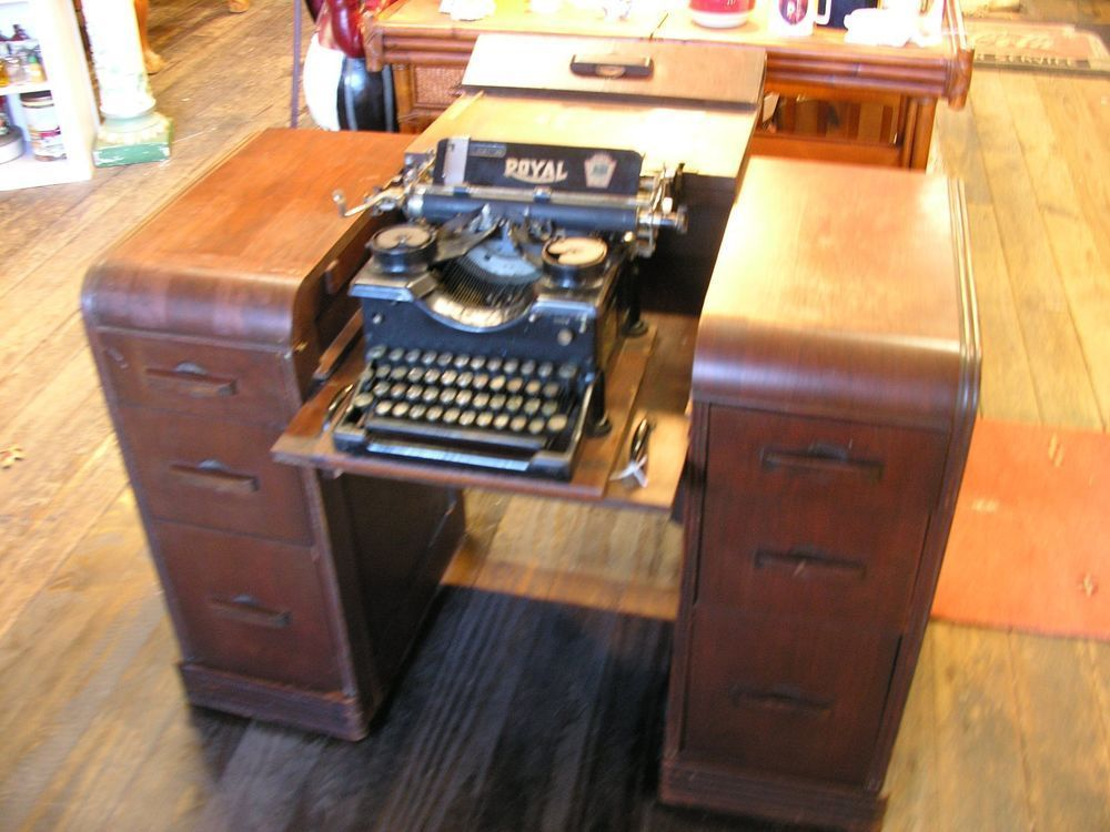 Antique Industrial Wood Typewriters Desk With Royal #10 Typewriter #Antique  #IndustrialDecorBrick - Antique Industrial Wood Typewriters Desk With Royal #10 Typewriter