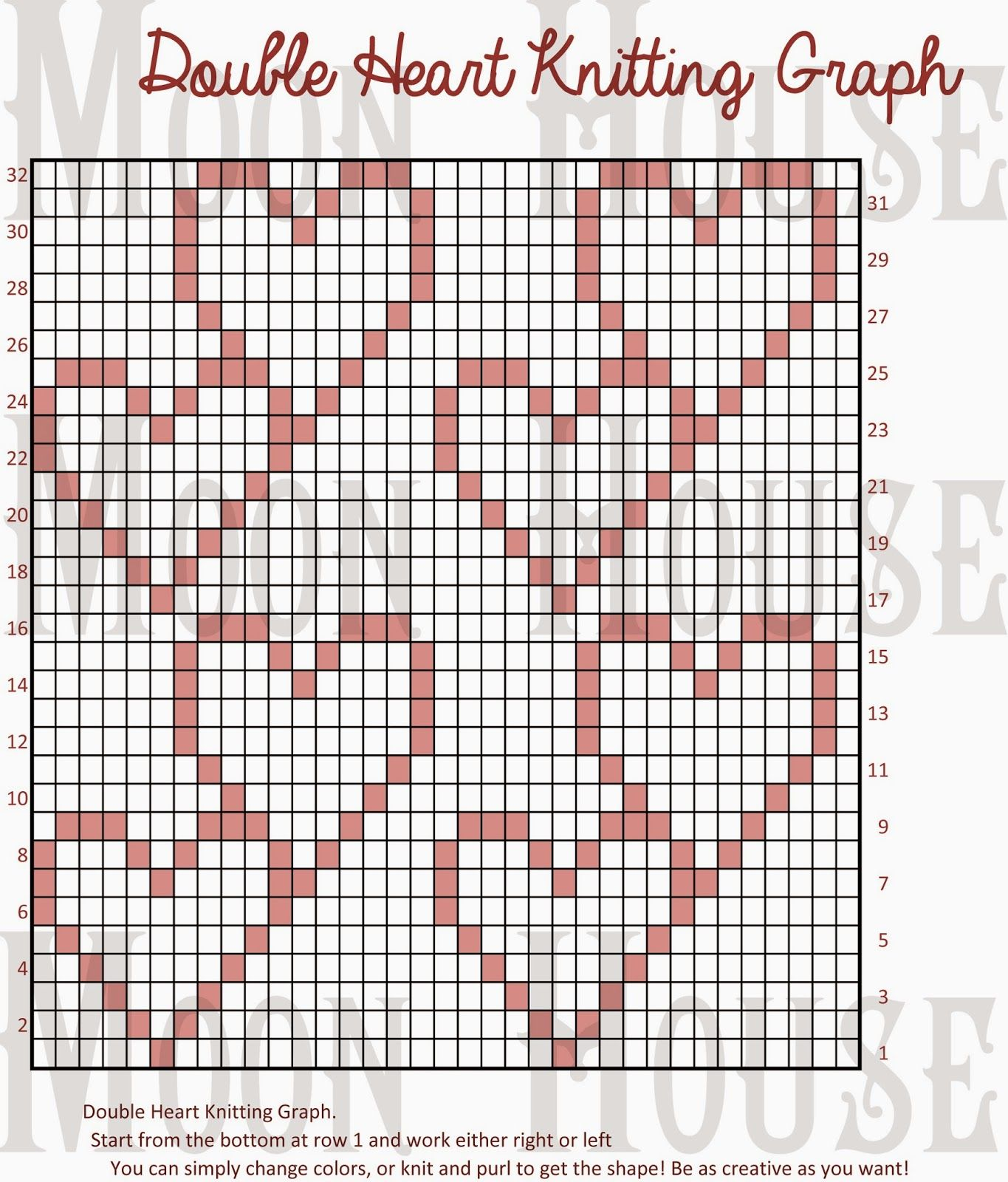 Double Heart Knitting Chart | Patterns | Pinterest | Gehäkelte ...