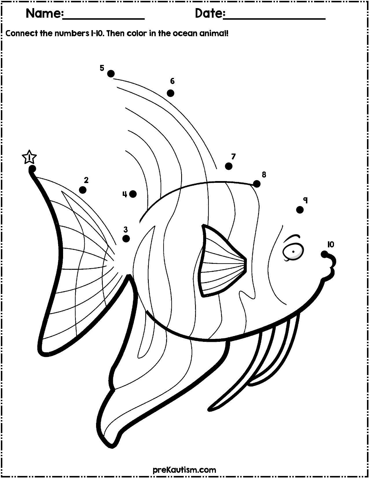 Ocean Animals Dot To Dot Worksheets | Numbers 1-10 | Dots ...