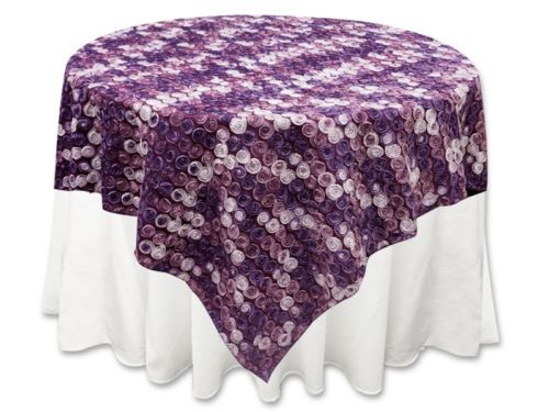 If I had a different patterned purple table cloth on each table it might feel less stuffy. Although, these are pretty nice!