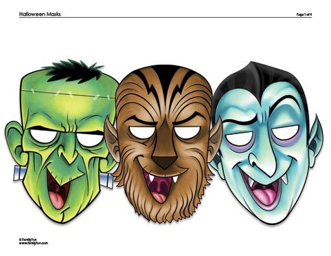 free printable halloween masks frankenstein dracula and werewolf printable halloween masks from family fun - Kids Halloween Masks