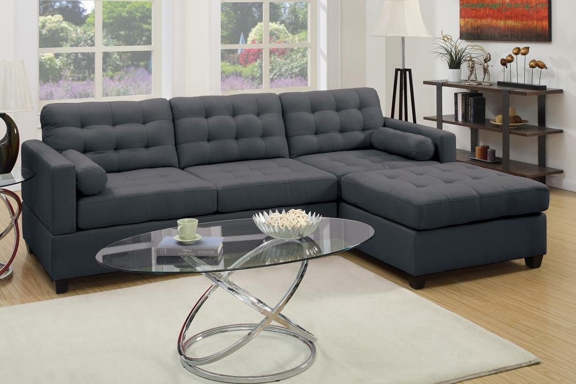 Attirant Grey Fabric Sectional Sofa   Steal A Sofa Furniture Outlet Los Angeles CA