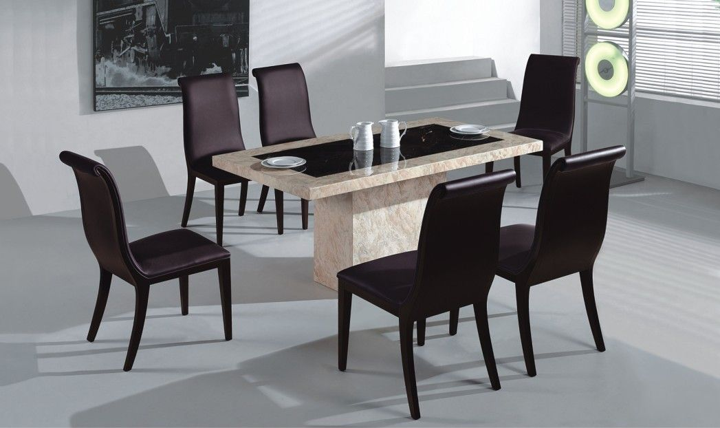 Modern Dining Set Wooden Cheap Dining Room Sets Beautiful Chairs Used Black  Color Combined With Granite Beige Table Decoration For Inspiration