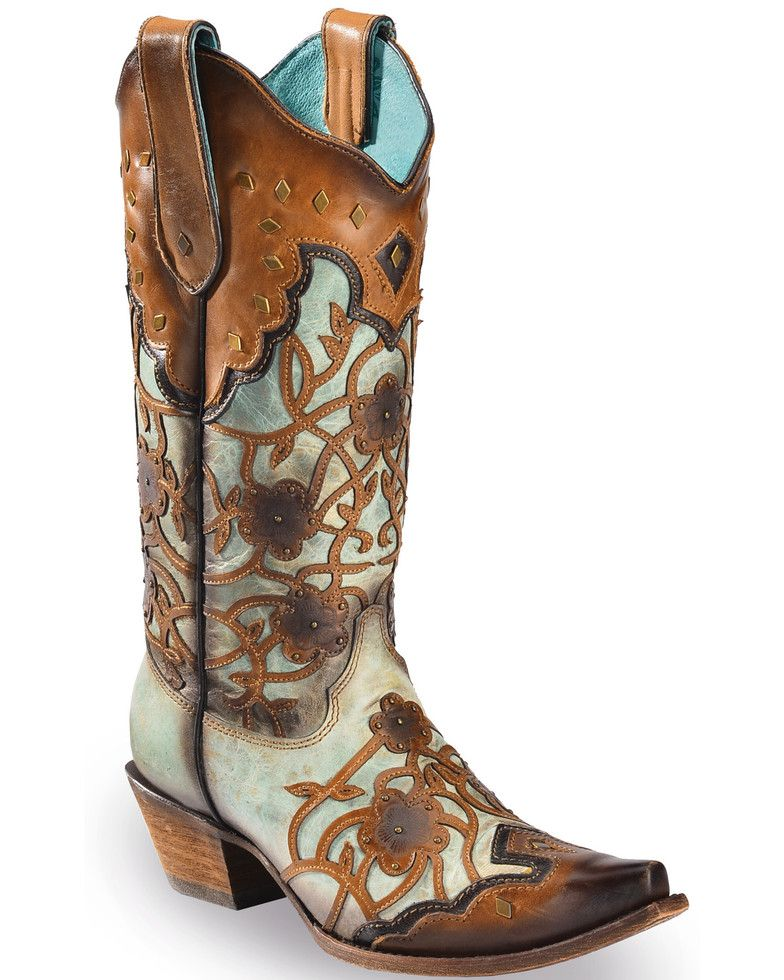 Corral Women/'s Flowers Overlay /& Studded Western Boots Mint//Maple C3176