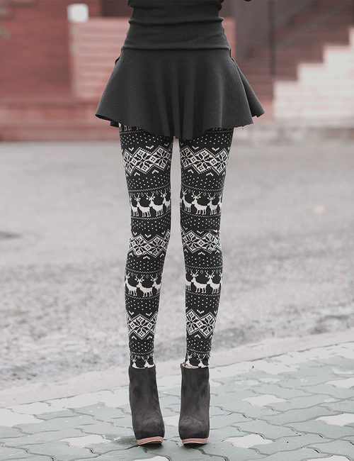 holiday leggings with black sweater dress
