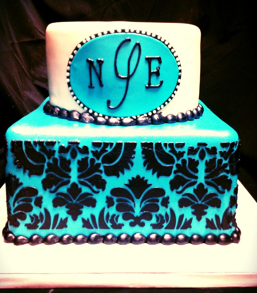 Teal, Black, And White Damask Initials Cake
