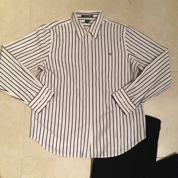 Ralph Lauren striped button up blouse Excellent condition. Ralph Lauren Tops Button Down Shirts