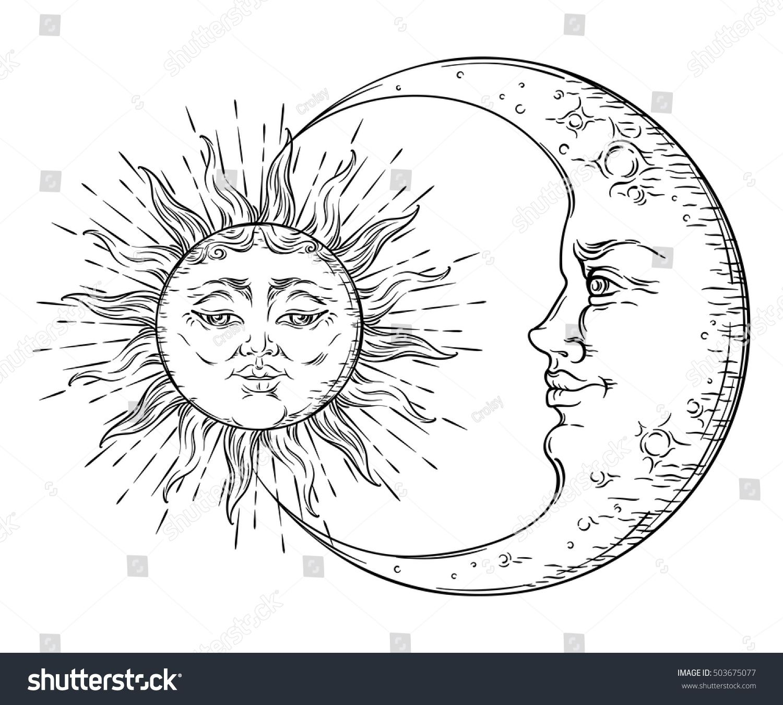 Antique Style Hand Drawn Art Sun And Crescent Moon Boho Chic Tattoo Design Vector Illustration Hand Art Drawing Sun And Moon Drawings Moon Drawing