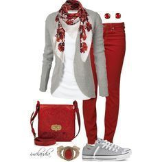 Rouge, blanc et gris - worldefashion.com/fr #casualstylefall